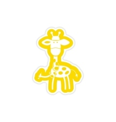 Stylish paper sticker on white background giraffe vector