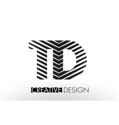 Td t d lines letter design with creative elegant vector