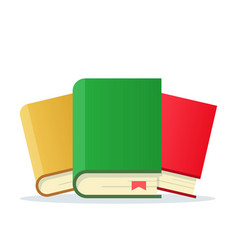 three books with bookmarks of icons vector image