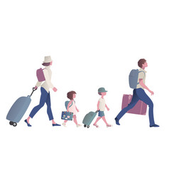 traveling family with suitcases backpacks and vector image