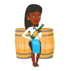 Waitress holding bottle of alcohol vector