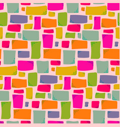 Warm colors pattern with hand drawn rectangles vector
