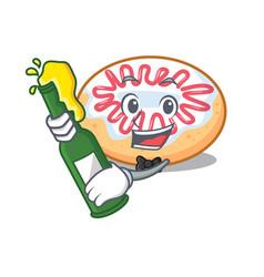 With beer jelly donut mascot cartoon vector