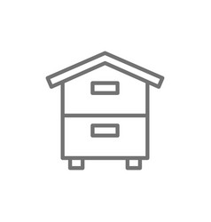 Wooden hive beehive apiary beekeeping line icon vector
