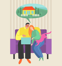 young couple looking for a house on internet vector image