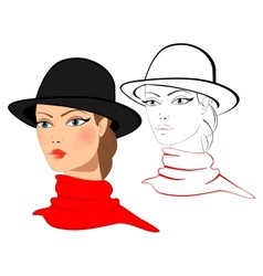 Young woman in a hat vector