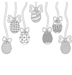 Zentangle easter eggs with decorative ornamental vector