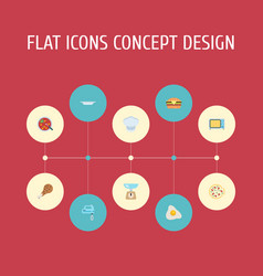 Flat icons broth pepperoni kitchen measurement vector