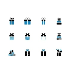 Gift box duotone icons on white background vector image vector image