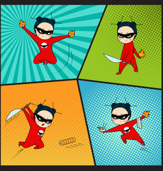 super hero set chef of japanese cuisine vector image vector image