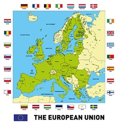 The european union map with flags vector