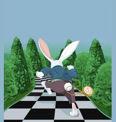 White rabbit running away vector