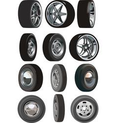 car wheels set vector image