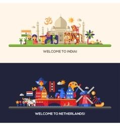 Flat design Holland India travel banners set vector image