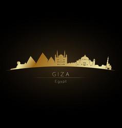 golden logo giza city skyline silhouette vector image