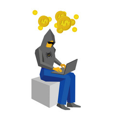 Hacker with laptop thinking about money vector