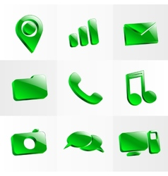 set glass icons button color symbol vector image vector image