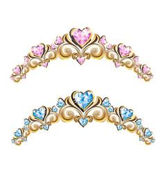 vintage jewelry diadems set vector image