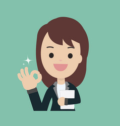 young businesswoman show ok sign and holding vector image vector image