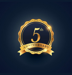 5th anniversary celebration badge label in golden vector image