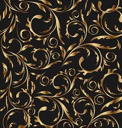 Golden seamless floral background pattern vector image