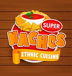 nachos ethnic cuisine logo vector image vector image