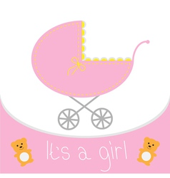 Baby girl shower card Baby carriage Its a girl vector image