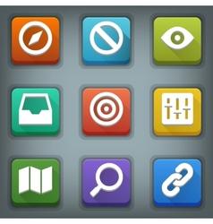 Flat icon set White Symbols Web 2 vector image vector image