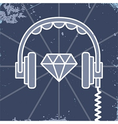 Headphones jewel icon vector image vector image