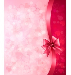 Holiday background with gift pink bow and ribbon vector image vector image