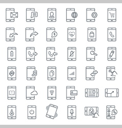Mobile function outline icon set vector image vector image