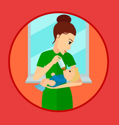 mother holding and feeding baby with milk bottle vector image