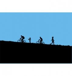 mountain bikers vector image