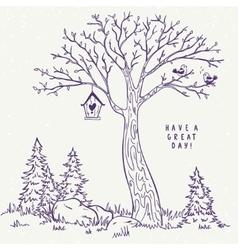 tree sketch nest vector image vector image