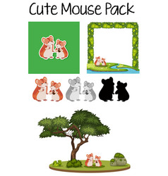 a pack of cute mouse vector image