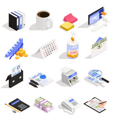 Accounting isometric icons vector