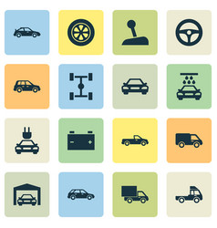 Auto icons set collection of van plug crossover vector