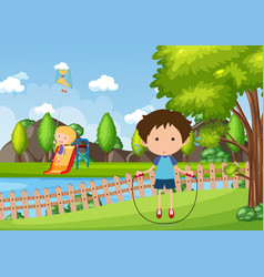 Background scene with kids playing in park vector