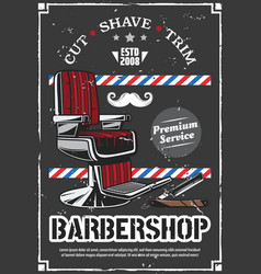 Barbershop chair and shave razor retro poster vector