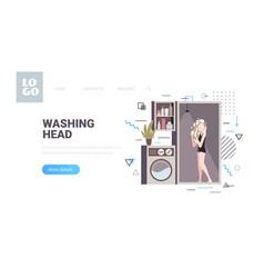 beautiful woman taking shower girl washing head in vector image