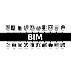 Bim building information minimal infographic vector