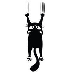 black cat scratching wall silhouette of vector image