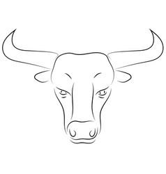 black line bull head on white background hand vector image