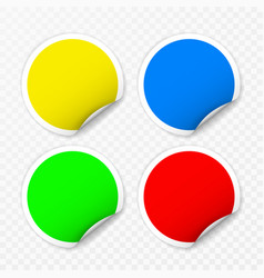 blank round stickers with curled corners on vector image