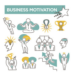 Business motivation conceptual flat icons vector
