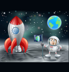 Cartoon astronaut and space rocket on the moon vector