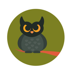 cartoon owl bird on branch animal flat and block vector image