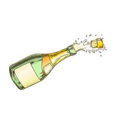 champagne blank label glass bottle color vector image