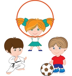 Children play sports vector