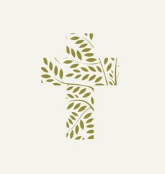 Christian cross decorated with leaves and branches vector